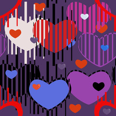 Seamless pattern of blue, red and purple hearts on a dark background