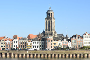 the city of Deventer near the river IJssel with tower of church