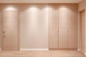 Empty beige hallway with closed doors, wooden wardrobe, parquet floor and empty wall. Front view. 3d illustration