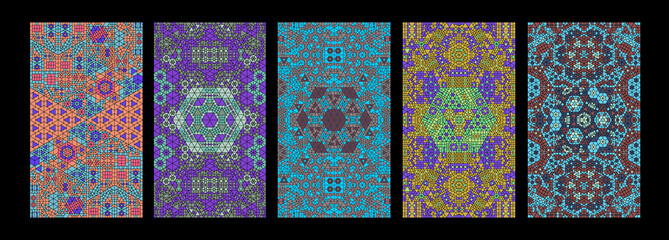 Set of Complex Tessellation Pattern Textures - Generative Mosaic Background