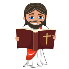 jesus christ reading holy bible book cartoon isolated on white