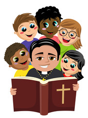 Group of multicultural happy kids surrounding christian priest reading holy bible book isolated on white