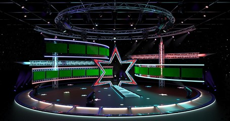 Virtual TV Studio Entertainment 4  Virtual sets that are required for any modern show for TV channels.  Format: UHD - 4096x2160  Click on the username to see our other products.  Enjoy.