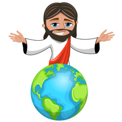 Jesus Christ cartoon open arms over the Earth Planet isolated on white. The savior of the world