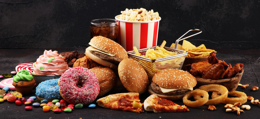 Unhealthy products. food bad for figure, skin, heart and teeth. Wall mural