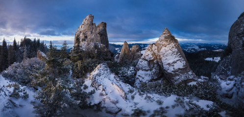 Mountain Peaks. Fantastic panorama of winter mountains