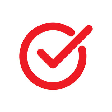 Chek, ok, yes icon approved. Red mark icon on white background. Flat vector illustration EPS10