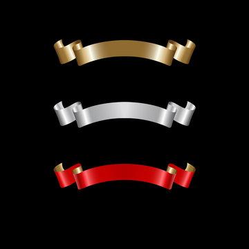 Ribbon Set In Isolated For Celebration, luxury golden ribbon set
