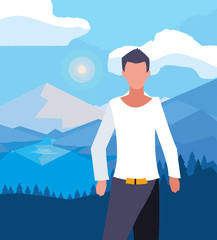 La pose en embrasure Piscine Avatar man in front of landscape vector design