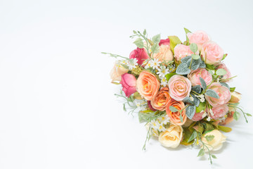 Isolated Bouquet of Roses made from fabric with White Background Fotobehang