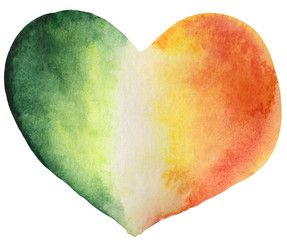 watercolor st patrick heart, irish flag. a symbol of love and patriotism, element for cliapt, design