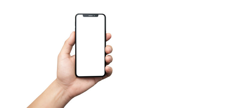 concept - cell phone in hand with white background - easy modification