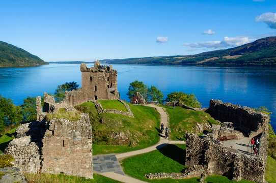 The ruins of Urquhart Castle on the shore of Loch Ness in Drumnadrochit, Inverness, Scotland (Scottish Highlands) on a beautiful summer day