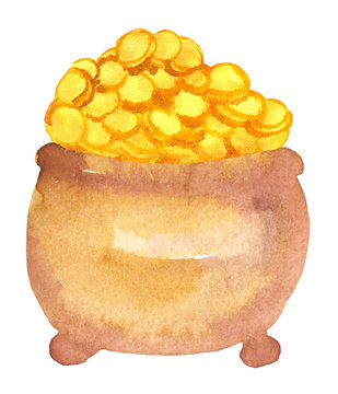 watercolor pot with gold coins, St. Patrick, symbol of wealth. Hand drawn raster illustration on white background, for design of prnts, cliparts, posters