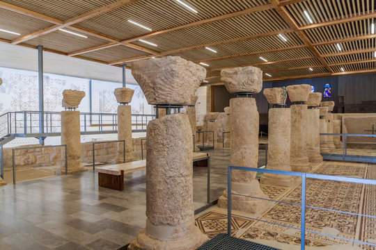 MOUNT NEBO, JORDAN - MARCH 21, 2017: Interior of the Moses Memorial church at the Mount Nebo mountain.