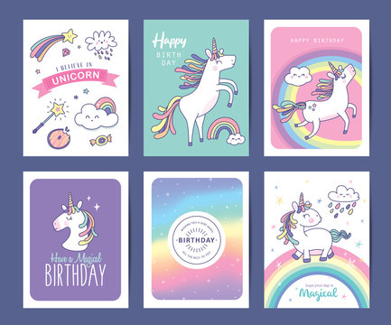 Set of birthday greeting cards with cute unicorns, rainbow and magical elements