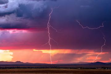 Poster Crimson Lightning storm with sunset sky