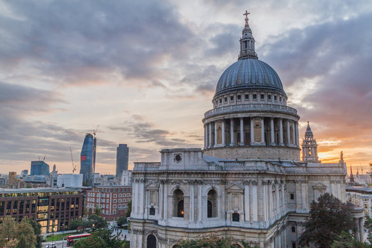 St Paul cathedral during sunset, London, United Kingdom