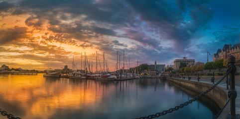 Panorama shot of colorful dusk at Victoria Harbor