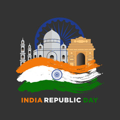 Poster Castle Illustration of Happy India Republic day (26 January) celebration background