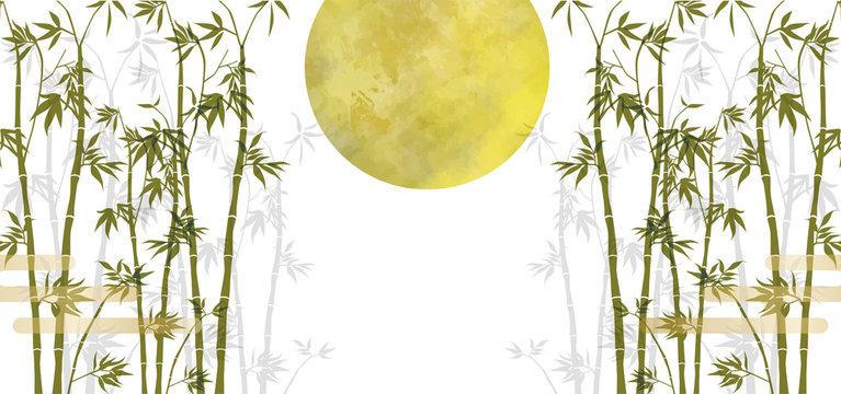 竹:満月 竹林 霞雲 おしゃれ 水彩 手書き スーパームーン 背景 七夕 京都