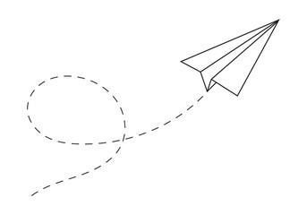 Paper plane following a path. Airplane track or route with dotted lines. Vector illustration.Печать