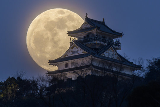 岐阜城と夕暮れの満月