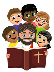Group of multicultural happy kids surrounding jesus christ reading holy bible book isolated on white