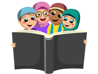 Happy group of Muslim boys and girls reading big book together isolated on white
