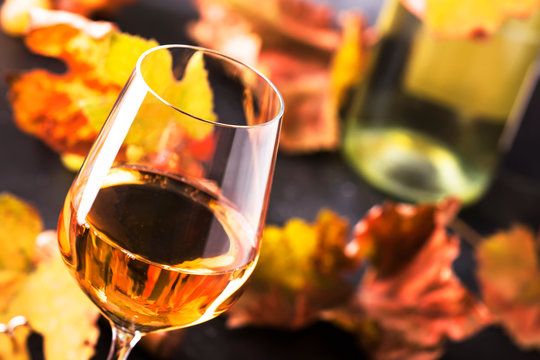 White wine glass and wine bottle on gray background with copy space