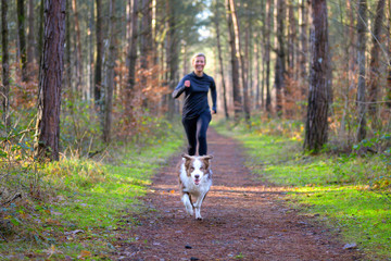 Stores à enrouleur Jogging Woman jogging in forest with her dog