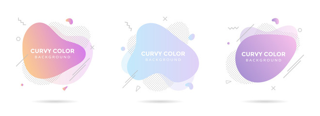 3 Modern liquid abstract element graphic gradient flat style design fluid pastel colors vector illustration set banner simple shape template for presentation, flyer, isolated on white background.