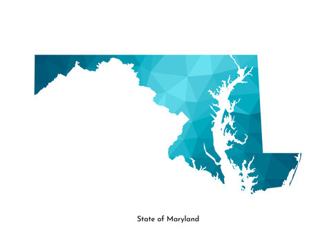 Vector isolated illustration icon with simplified blue map's silhouette of State of Maryland (USA). Polygonal geometric style. White background