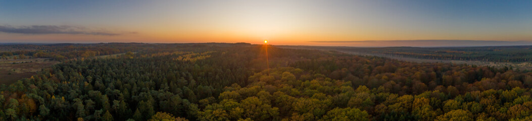 Türaufkleber Schokobraun Aerial panoramic drone shot of Luneberg Heide forests pine trees forests woodland during sunset in autumn