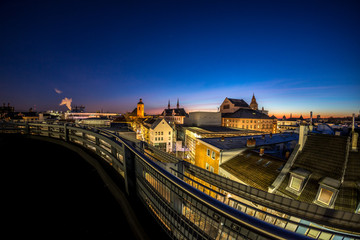 Ausblick auf das Panorama von Mainz im Sonnenaufgang