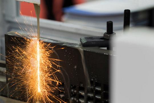 Steel  plate was cut by EDM Wire cut process