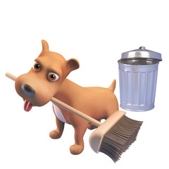 3d cartoon puppy dog character sweeping with a broom near a trash can, 3d illustration