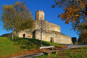 Medieval fortress called 'Burg Steinsberg'  in village of Weiler, a suburb of city Sinsheim in Germany