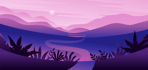 Foto op Plexiglas Purper Vector illustration in flat simple style with copy space for text - night landscape with natural scene - palm trees and hills