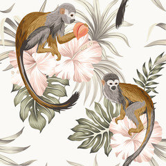 Tropical vintage monkey animal, hibiscus flower, peach fruit, palm leaves floral seamless pattern ivory background. Exotic jungle wallpaper. - 314416968
