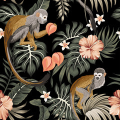 Tropical vintage monkey animal, hibiscus flower, peach fruit, palm leaves floral seamless pattern black background. Exotic jungle wallpaper.