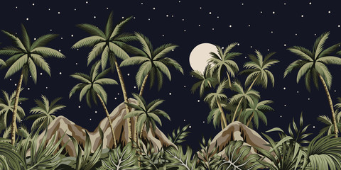 Tropical night starry moon vintage floral palm tree, plants, mountain seamless border black background. Exotic dark jungle wallpaper.