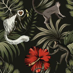 Tropical night vintage monkey, palm leaves, red hibiscus flower floral seamless pattern dark background. Exotic jungle wallpaper.
