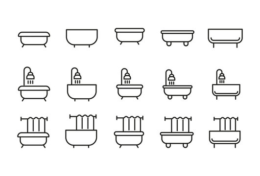 Set of bath related vector line icons.