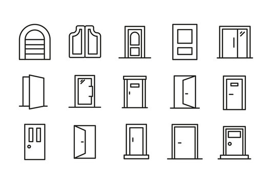 Set of door related vector line icons.