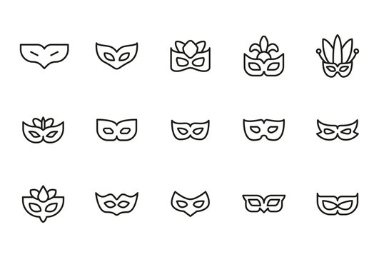 Stroke line icons set of eye mask.