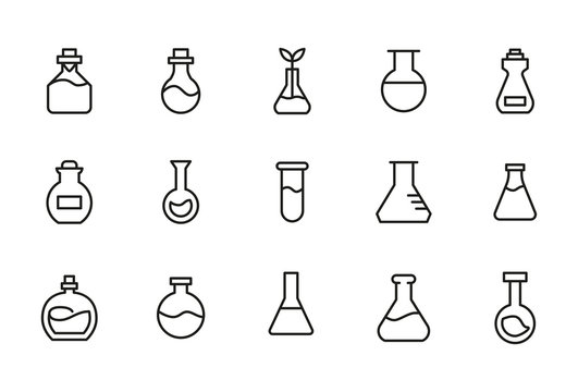 Stroke line icons set of flask.