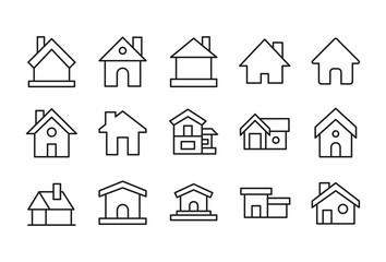 Set of home related vector line icons.