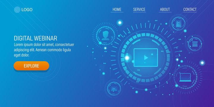 Digital webinar, online video training, internet business technology  - Hud design concept with blue background.