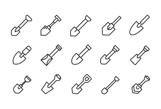 Set of shovel related vector line icons.